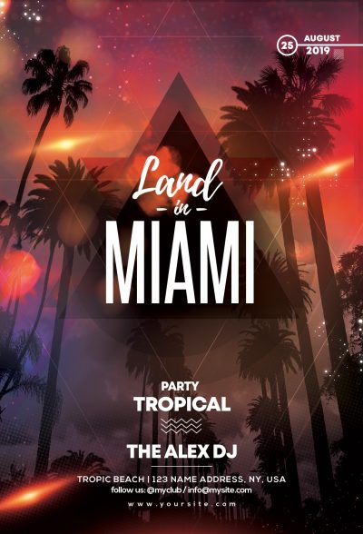 Land In Miami Free PSD Flyer Template