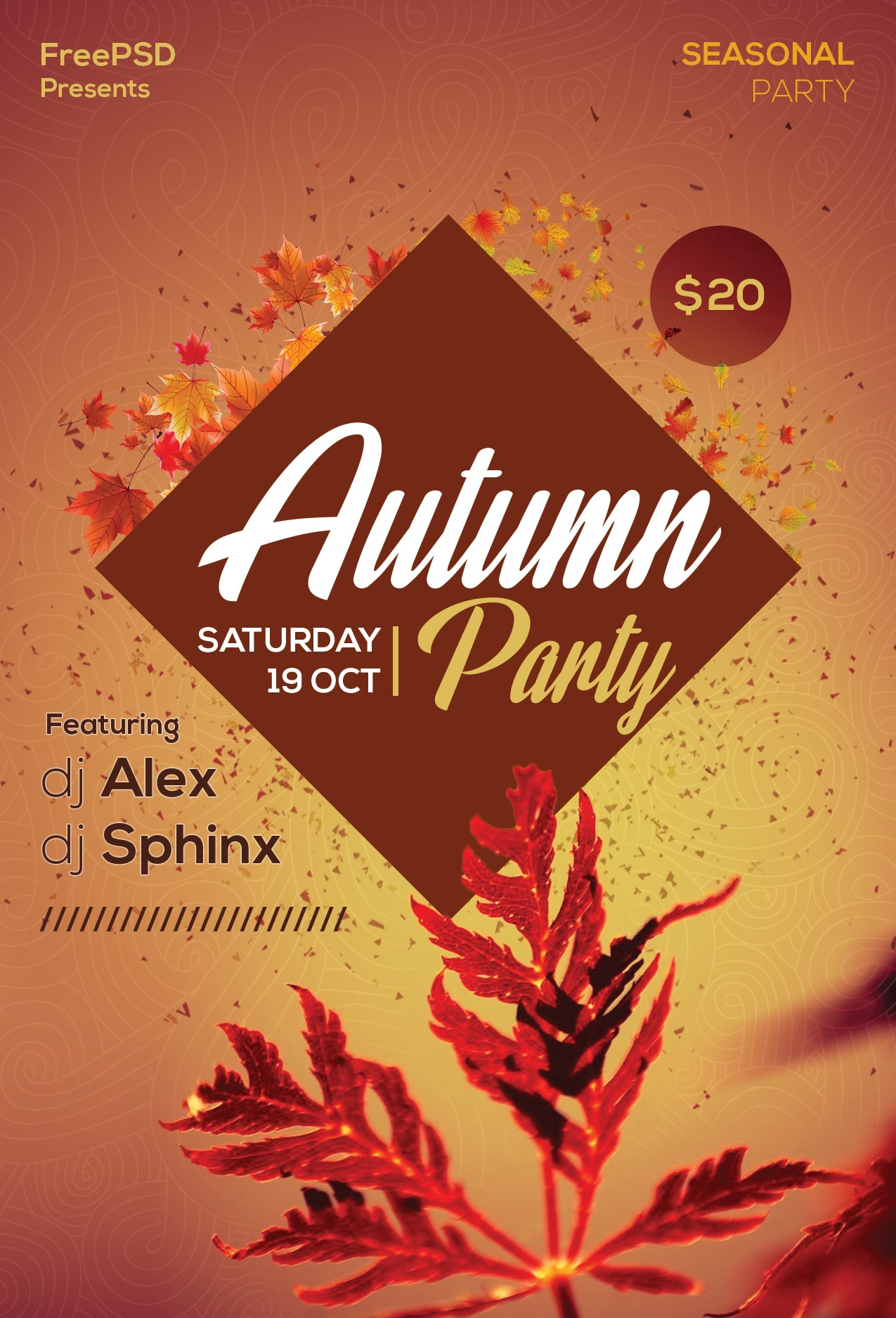 Autumn Party #3 Free PSD Flyer Template