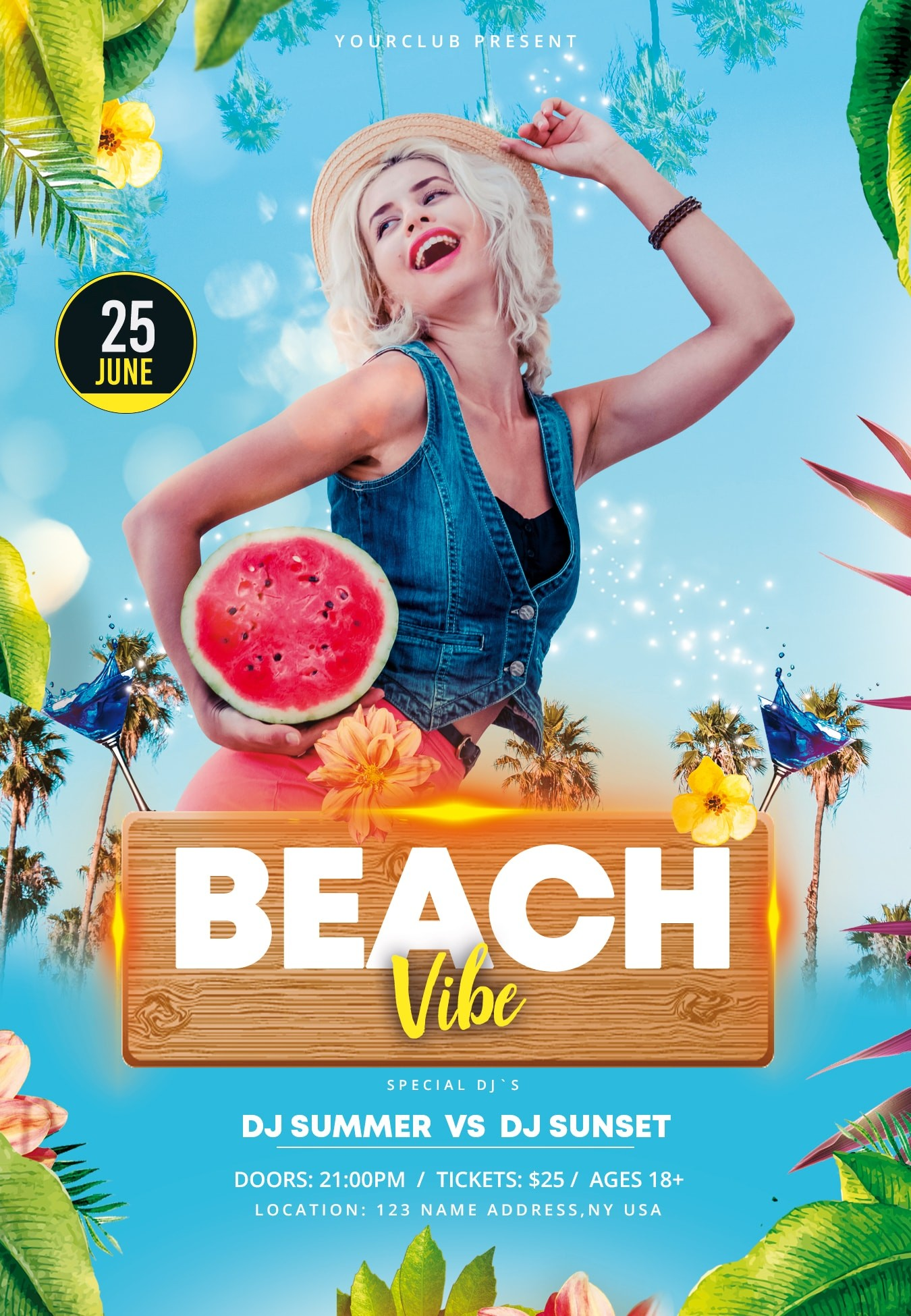 Beach Vibe #2 Free PSD Flyer Template