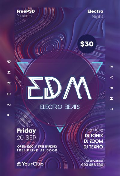 EDM Electro Beats Free PSD Flyer Template