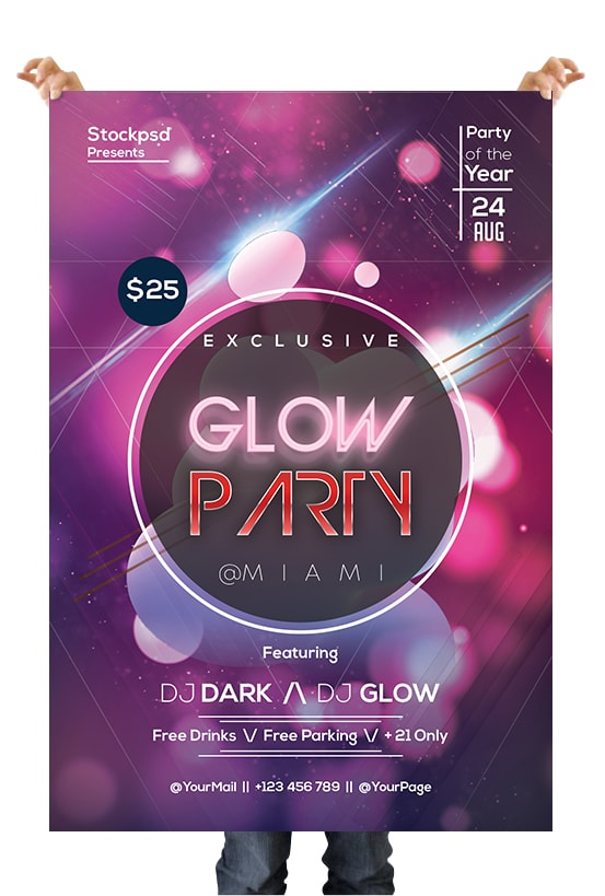 Glow Party Event Free PSD Flyer Template