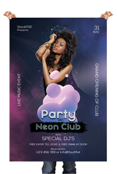 Club Neon Party Free PSD Flyer Template