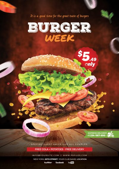 Burger Week Fast Food Free PSD Flyer Template