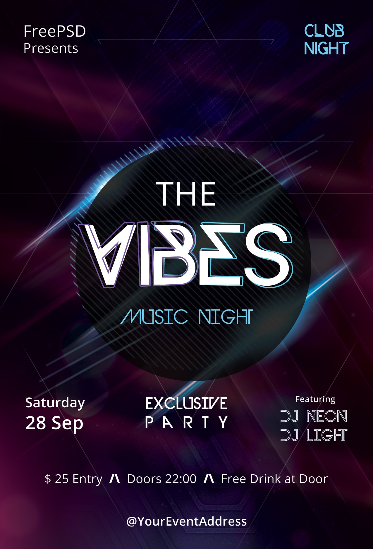 The Vibes Free PSD Flyer Template