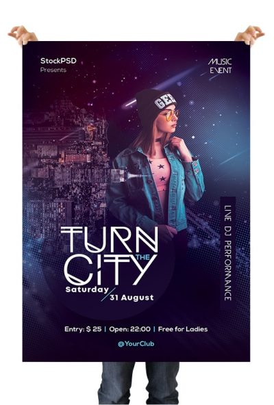 Turn the City Free PSD Flyer Template