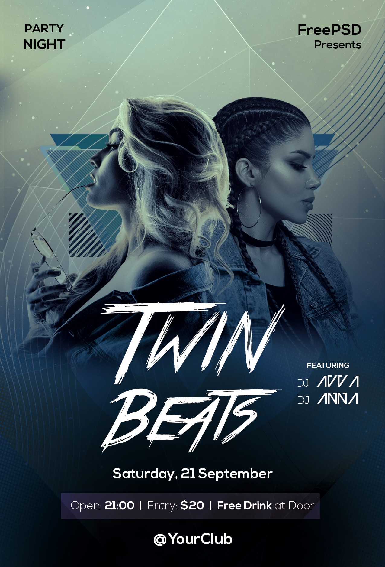 Twin Beats Free PSD Flyer Template
