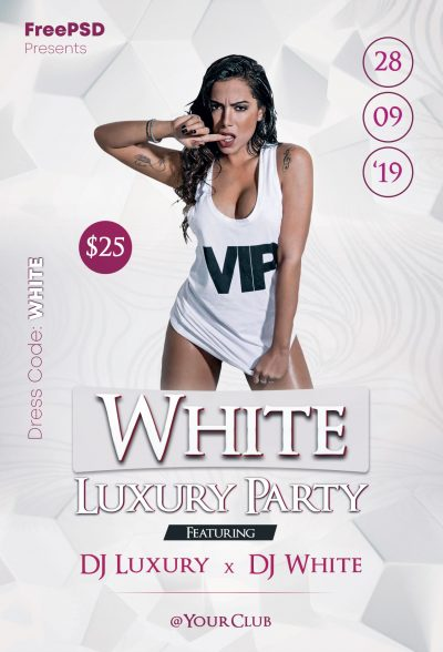 White Luxury Party Free PSD Flyer Template