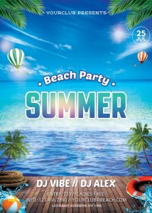 Beach Party #4 Free PSD Flyer Template