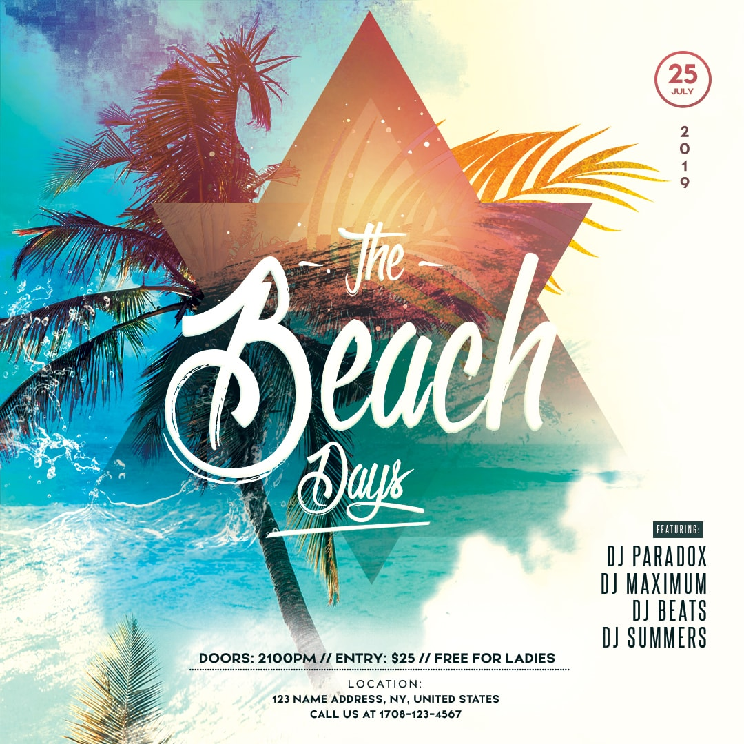 Summer Beach Day Party Free PSD Flyer Template