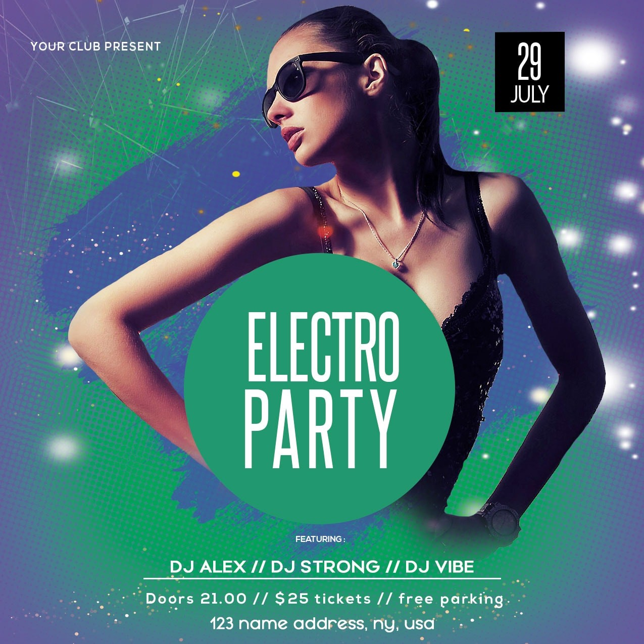 Electro Party Event Free PSD Flyer Template