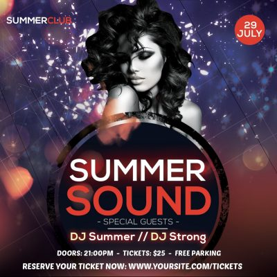 Summer Sound Instagram Free PSD Flyer Template