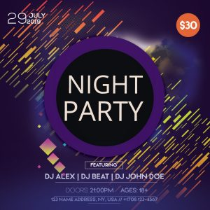 Night Party Instagram Free PSD Flyer Template