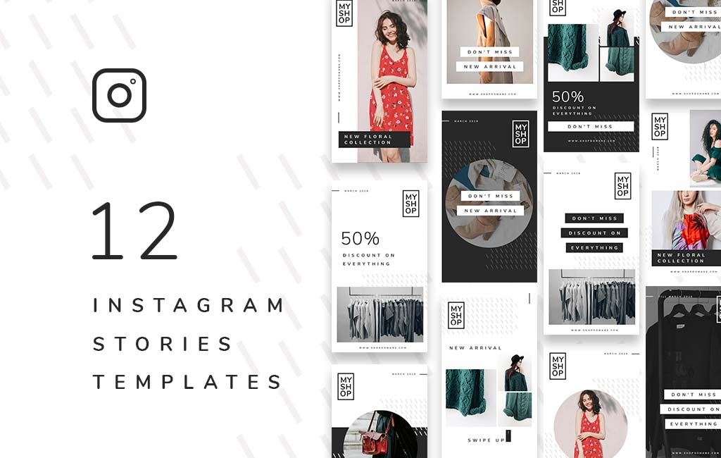 12 Shop Instagram Stories Free PSD Template