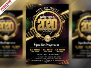 2021 New Year Party Free Flyer PSD Template