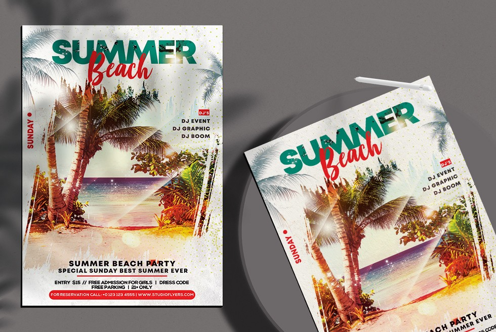 Beach Vibe PSD Free Flyer Template vol3