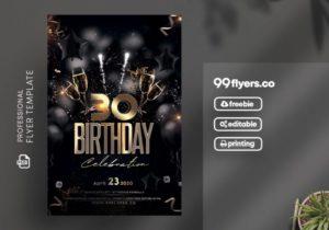Birthday Bash Gold & Black Free PSD Flyer