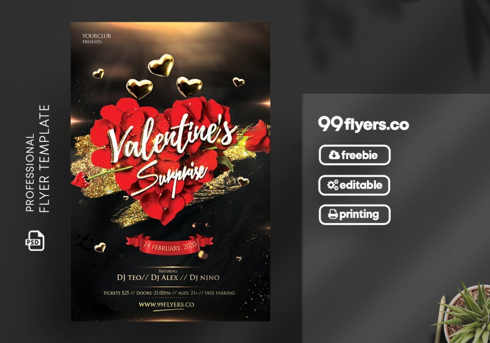 Black Valentine's Free PSD Flyer Template