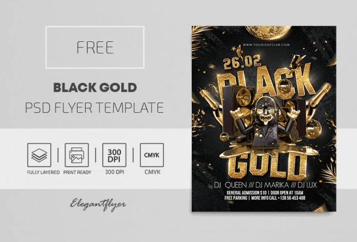 Black to Gold Freebie PSD Flyer Template
