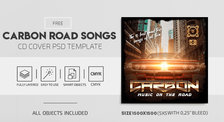 Carbon Road Songs Free PSD CD Cover Template