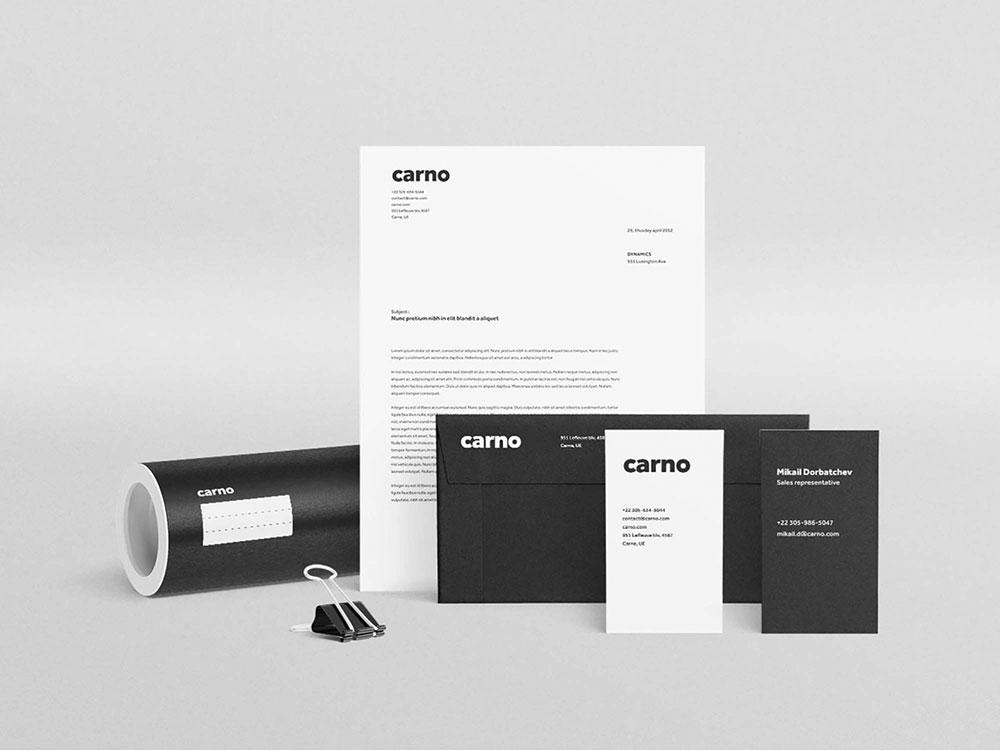 Carno Stationery PSD Free Mockup