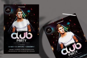 Club Party Night Free PSD Flyer Template