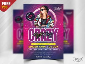 Crazy Party Night Freebie PSD Flyer Template