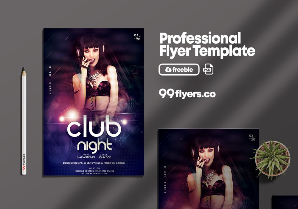 DJ Night Freebie PSD Flyer Template