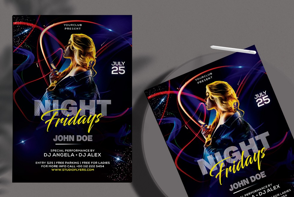 Dance Dj Night Free PSD Flyer Template