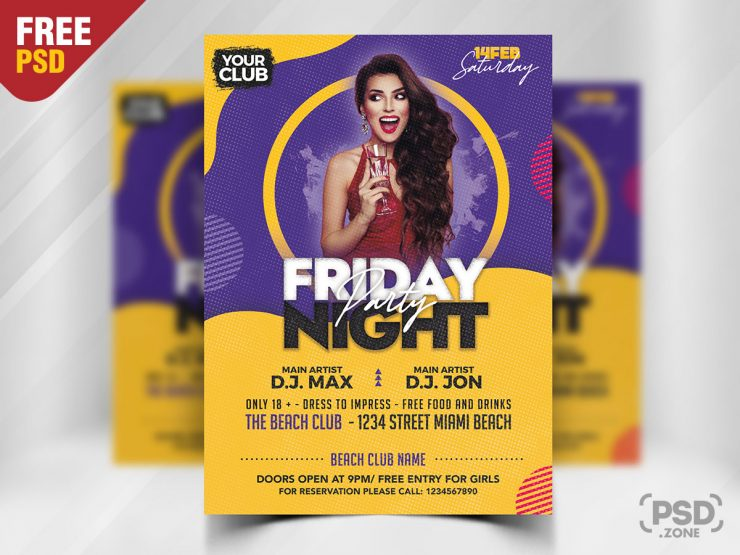 Drink Party PSD Freebie PSD Flyer Template