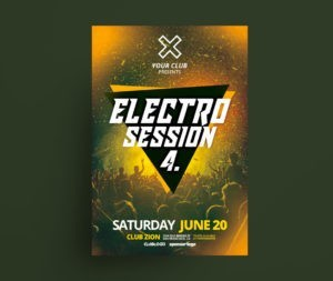 Electro Music Party PSD Free Flyer Template