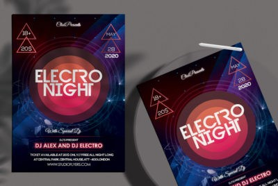 Electro Night Free Party PSD Flyer Template