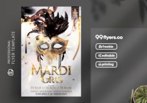 Elegant Mardi Gras Freebie PSD Flyer Template