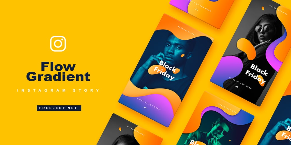 Flow Gradient Instagram Story Free PSD Template