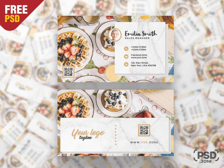 Food Blogger Free Business Card PSD Template
