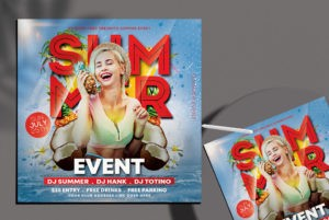 Free Summer Party PSD Flyer Template vol5