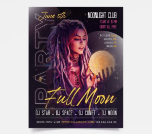 Full Moon – DJ PSD Free Flyer Template