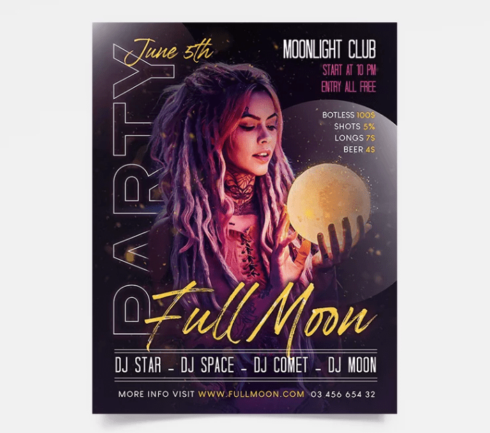 Full Moon - DJ PSD Free Flyer Template