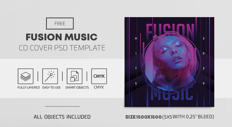 Fusion Music Free CD Cover PSD Template