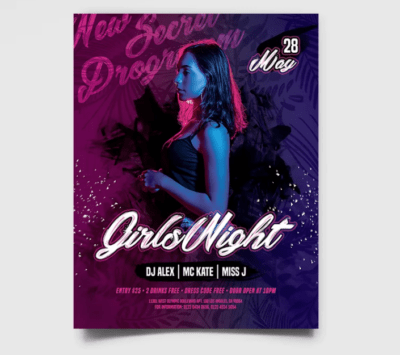 Girls Night Party PSD Free Flyer Template