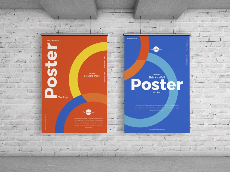 Indoor Wall Poster Free Mockup