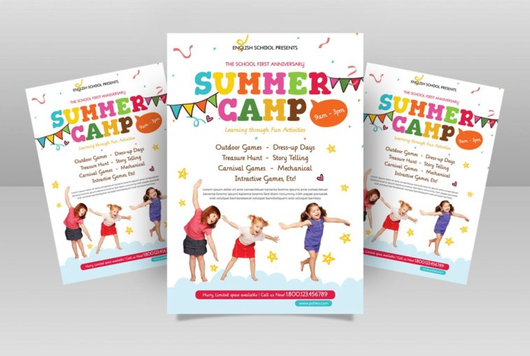 Kids Summer Camp Free PSD Flyer Template