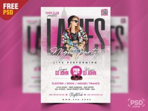 Ladies Event Free Pink PSD Flyer Template