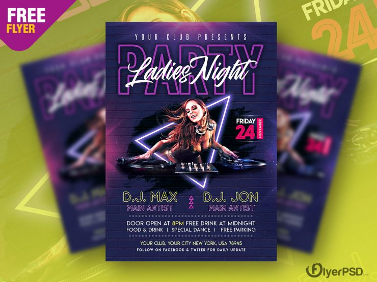 Ladies Night Event Party Free PSD Flyer Template