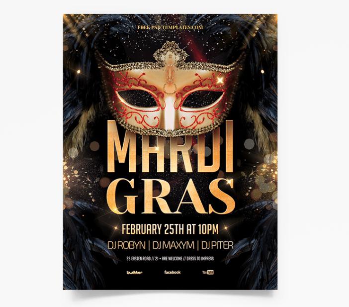 Mardi Gras Festival Free PSD Flyer Template