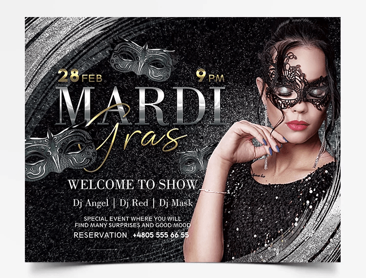 Mardi Gras - Luxury Free PSD Flyer Template