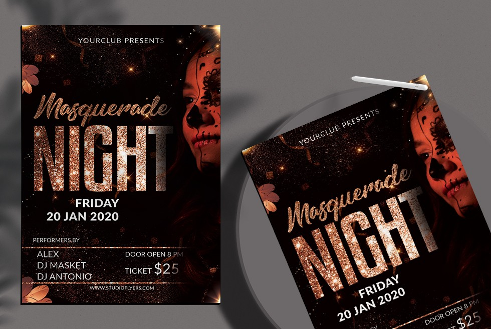 Masquerade & Carnival Free PSD Flyer Template