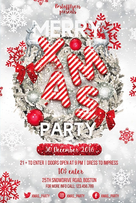Merry Christmas Party Free PSD Flyer Template