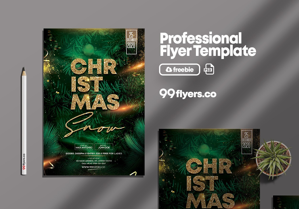 Merry X-Mas PSD Free Flyer Template