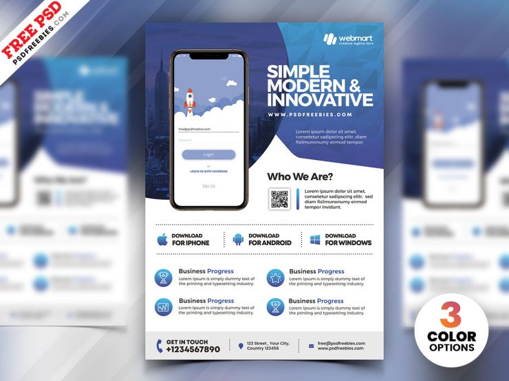 Mobile App Marketing – Free PSD Flyer Template
