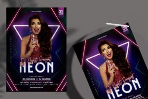 Neon Club Vibe Free PSD Flyer Template